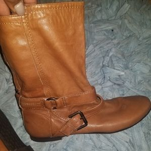 Nine West Tan Leather Moto Calf Boots 10 1/2 NWOT